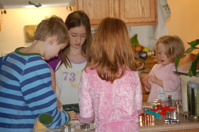 First Cousins making Christmas cookies