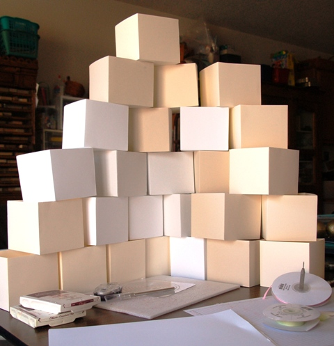 Ornaments boxes in process. In the end, I made 37 of them.