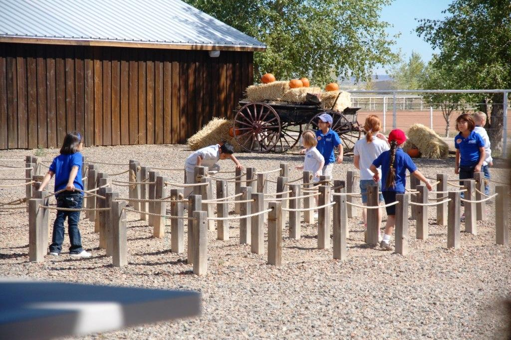 Lunch is always after pumpkin-picking. This rope maze is right outside the lunch area. It is always difficult to make the chren finish their lunches before they run to play in it.