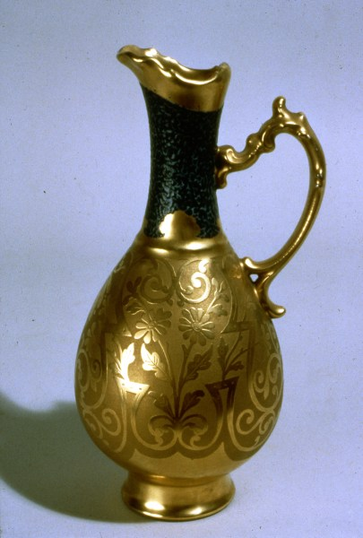 Ewer, porcelain, unknown maker, decorated by Jesse Dean, ca. 1900, NJSM 80.36