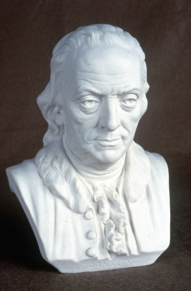 Ott & Brewer, Etruria Works, Bust of Benjamin Franklin, parian, Isaac Broome, designer and modeller, 1876, H 10 in, NJSM 354.29