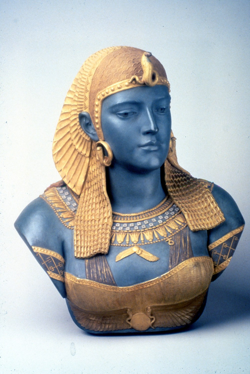 Ott & Brewer, Etruria Works, Bust of Cleopatra, parian, Isaac Broome, designer and modeller, 1876, H 21 in, NJSM 354.24