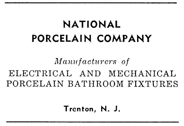 National Porcelain Company Advertisement