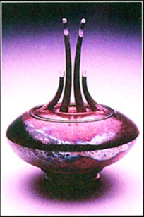 raku lidded vessel - copper glaze