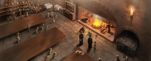 Ilustrace bradavické kuchyně, ve které dominuje velký krb. U krbu postávají Ron s Harrym a Hermiona klečí u opilé Winky. Další skřítci sledují scénu z povzdálí.