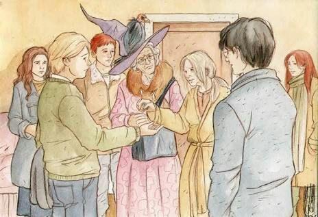 Fanart na němž je vyobrazena návštěva Harryho a spol. v nemocnici Sv. Munga a Nevilla s jeho babičkou u Nevillových rodičů. Zleva doprava stojí: v pozadí Hermiona, v popředí k pozorovateli bokem otočený Neville, v pozadí Ron a těsně před ním Augusta, vedle ní Alice Longbottomová, která Nevillovi podává obal od žvýkačky, následně v popředí zády k pozorovateli obrácený Harry a v pozadí Ginny.