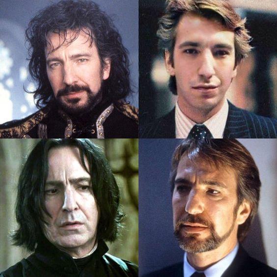 Čtyři fotografie Alana Rickman ve čtvrceném obrázku. Vlevo nahoře vystupuje Alan jako šerif z Nottinghamu - s černými rozčepýřenými vlasy, dlouhými až po ramena, a s černými vousy. Vpravo nahoře je Alan mladý se světlými delšími a upravenými vlasy. Na sobě má bílou košili, tmavomodrou kravatu s bílými puntíky a tmavomodrým sakem s proužky. Vlevo dole je Alan coby Severus Snape s černými delšími vlasy a znepokojeným výrazem ve tváři. Vlevo dole je Alan ve středních letech se světle hnědými, střiženými vlasy a vousy.