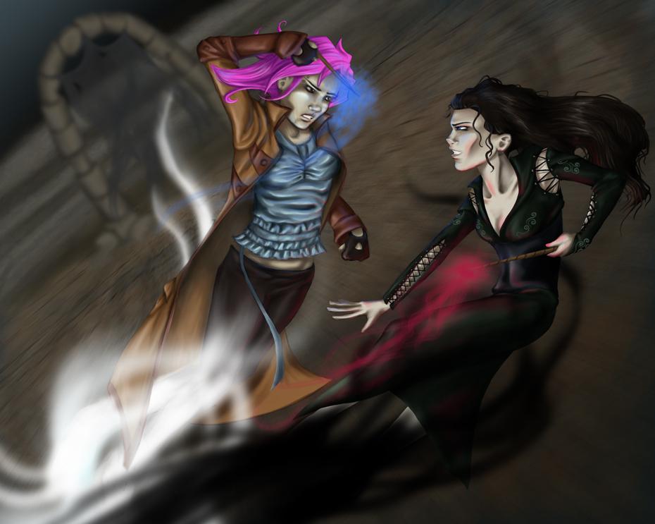 Fan art souboje Tonksové s Bellatrix. Tonksová s růžovými vlasy míří zleva s napřaženou hůlkou, z níž se line modře zbarvené kouzlo. Hůlka míří na Bellatrix, která je na obrázku vpravo ve svých černých šatech. Z její hůlky vychází červeně zbarvené kouzlo.