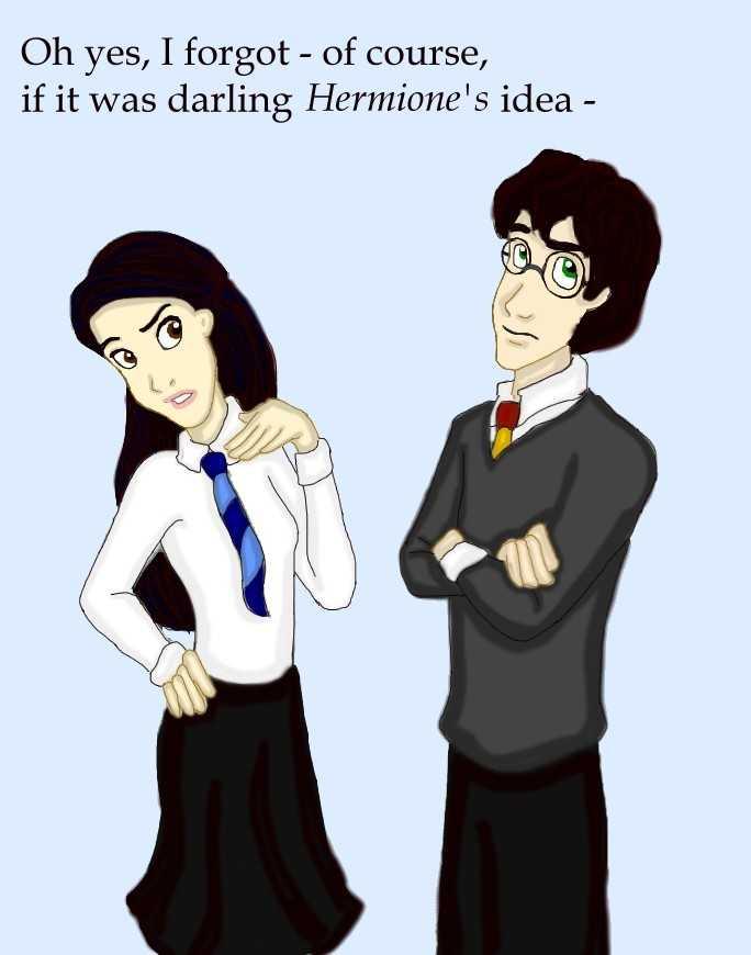 """Fanart Harryho a Cho. Cho vlevo se tváří naštvaně, lehce se od Harryho odvrací obličejem a přikládá si levou ruku k obličeji, zatímco pravou má založenou v bok. Harry vpravo se na ni dívá a má překřížené ruce přes hruď, zvedá oči v sloup. Nad postavami je nápis """"No jistě, zapomněla jsem - byl to nápad drahouška Hermiony..."""""""