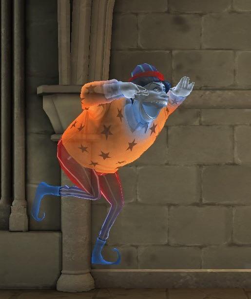 Obrázek Protivy ze hry Hogwarts Mystery. Protiva oblečený v  oranžové polokošili s límečkem, s červenými hvězdami, dále v červených kalhotách s oranžovými pruhy, modrých špičatých bot a fialového klobouku se světle modrými pruhy, zde dělá na kohosi mimo fotografii rozšklebený obličej. Vznáší se ve vzduchu, pravou nohu má lehce pokrčenou dozadu, otevírá ústa a máchá vedle hlavy rukama.