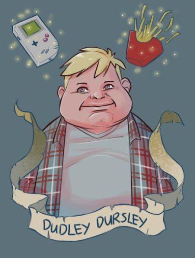 Fanart Dudleyho. Má blond vlasy, hloupý široký úsměv a tlusté líce. V těle je znatelně obézní. Na sobě má šedé tričko a přes něj kostkovanou košili. Nad ním se vznáší v levém rohu Gameboy a v pravém rohu krabička plná hranolek. Pod pupkem je pergamenová stuha s jeho jménem.