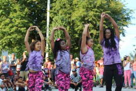 Girls of the Simply Phenomenal Dance Team perform during a Back to School Community Blockbuster Saturday at the Ricketts Center in Pottstown.