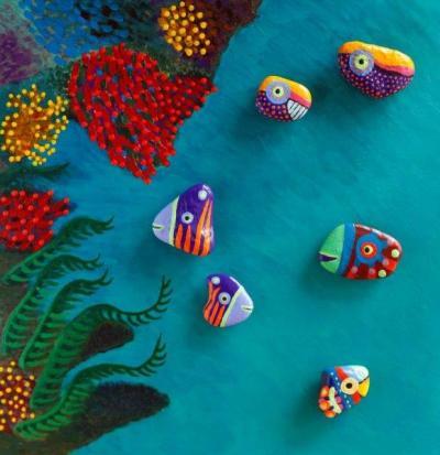 korallszirt vegyes festett kavics kicsi