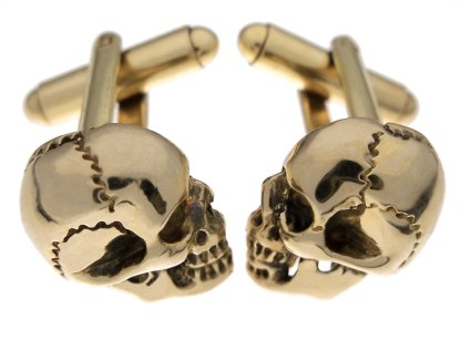 Skull Cufflinks in Brass