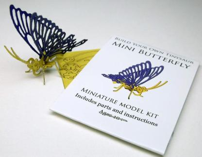 Butterfly miniature skeleton model with instructions, laser cut bones, and packaging by Tinysaur.us