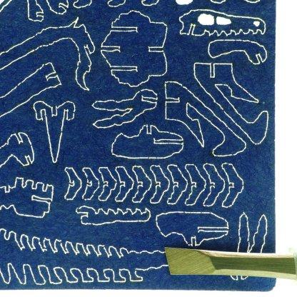 Laser-cut Velociraptor bones
