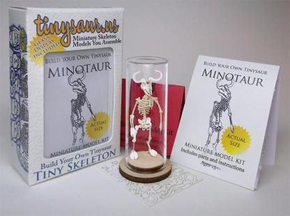 Minotaur all-in-one miniature skeleton model kit with laser-cut bones, glass display dome, instructions, tweezers, glue, a magnifier, and packaging by Tinysaur.us