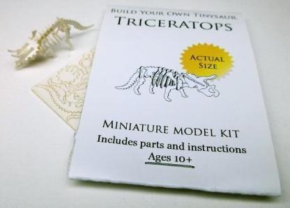 Triceratops miniature skeleton model with laser-cut bones and instructions by Tinysaur.us