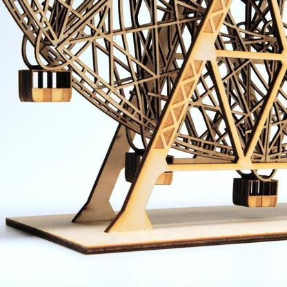 Laser-cut Wood sculpture of Coney Island Wonder Wheel close-up by everythingtiny.com