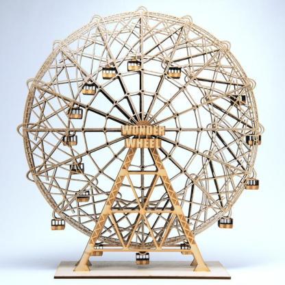 "Coney Island Wonder Wheel 14"" sculpture in laser-cut wood by Everythingtiny.com"