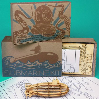 Miniature-sized Submarine Wood Model Kit with laser-cut parts, instructions, and retro packaging