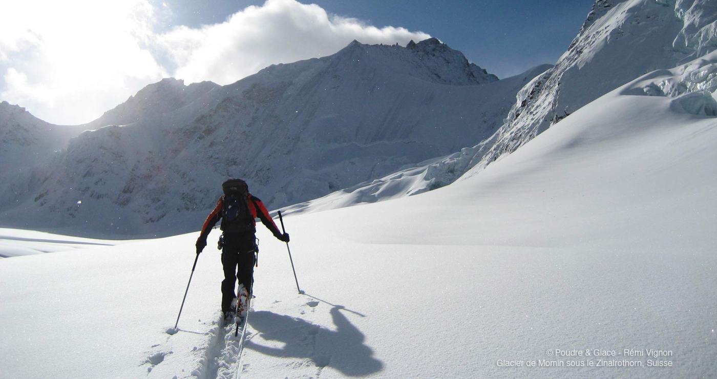 © Poudre et Glace, Rémi Vignon, glacier de Momin sous le Zinalrothorn, Suisse