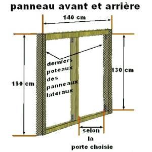 Plan de montage des panneaux avant et arrière du poulailler