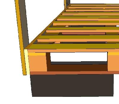 les détails du montage des palettes du sol du poulailler