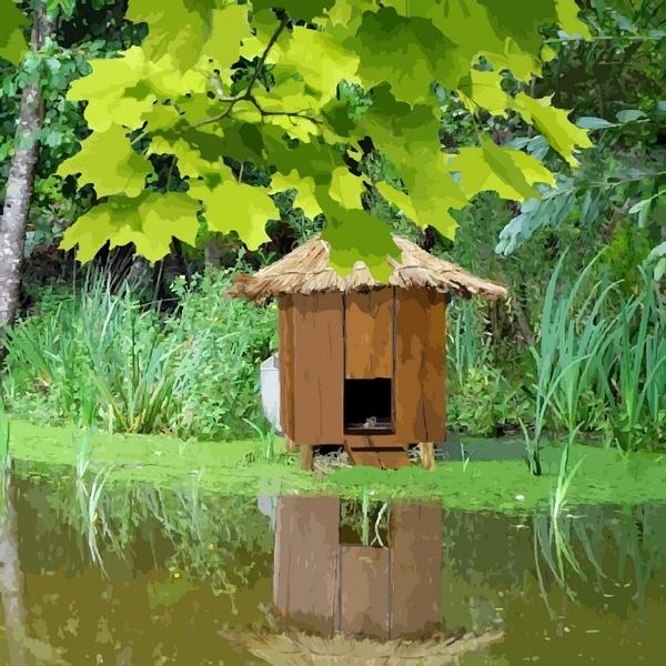 abri-nichoir pour canard sur pilotis dans un étang