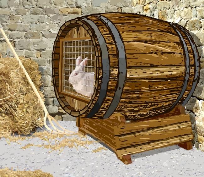 clapier pour lapin fait dans une barrique