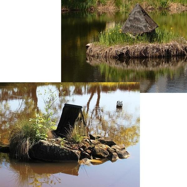 exemples d'abris rustiques sur ilot dans des étangs