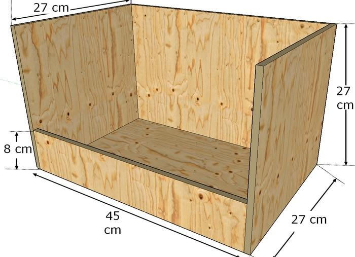 Modèle de boite à nid ouvert pour lapine