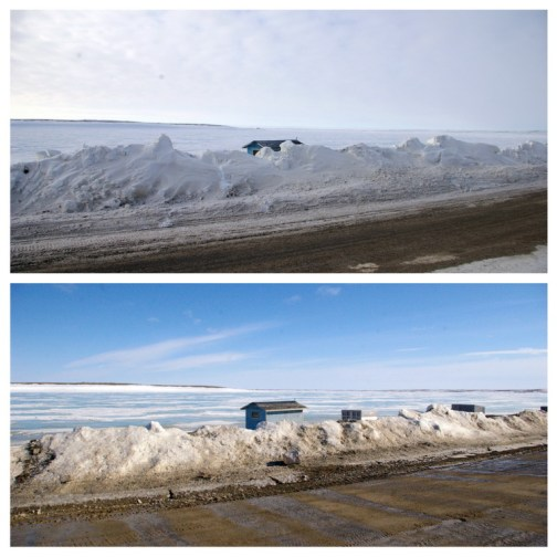 On the shore-front of Cambridge Bay - photos taken at the same spot a few days apart to show the extent of the snow melt