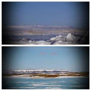 Views of Mount Pelly - Ovayuk from Cambridge Bay - photos taken at the same spot a few days apart to show the extent of the snow melt