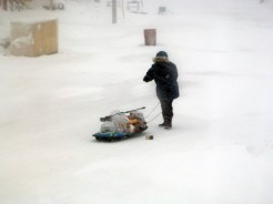 Getting the groceries home during a snow storm