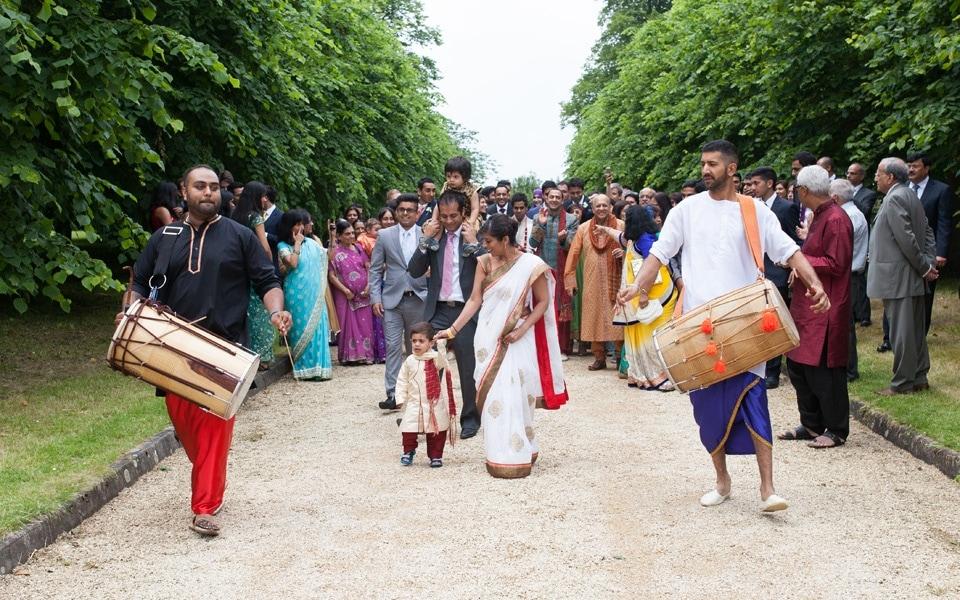 Asian Wedding Ceremony Drumming Arrival Groom Asian Wedding Poundon House 01
