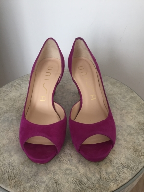 Sandales fuchsia, bout ouvert, pointure 35