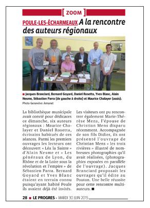 Le Progrès Beaujolais 30 Juin 2015
