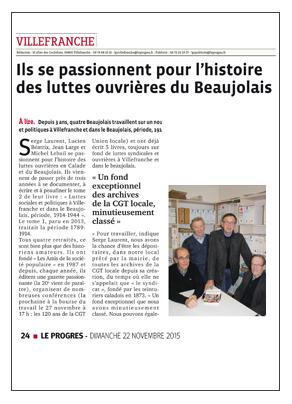 luttes ouvrières du Beaujolais Le Progres 151122