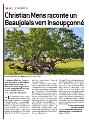 progres 160204 Christian Mens raconte un Beaujolais vert insoupçonné