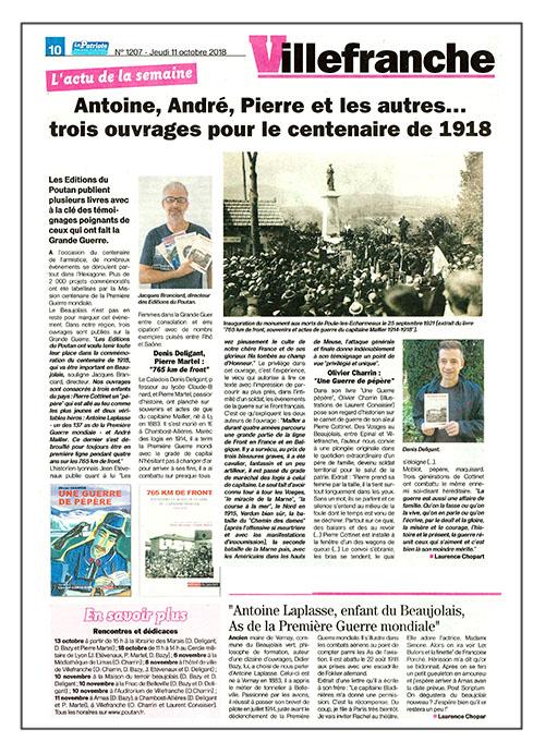 Le Patriote 11/10/18 - 3 ouvrages pour le centenaire de 1918.