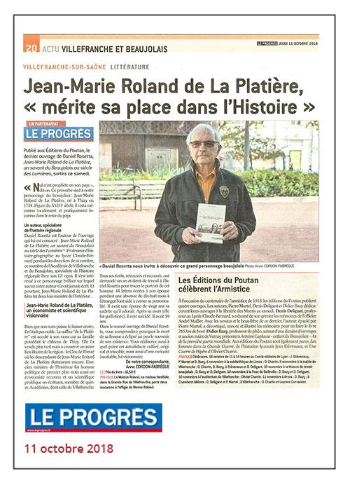 Jean-Marie Roland de La Platière de Daniel Rosetta - Le Progrès 11/10/18