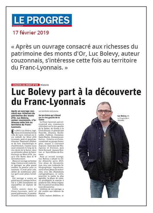 Luc Bolevy à la découverte du Franc-Lyonnais - Le Progrès 17/02/19