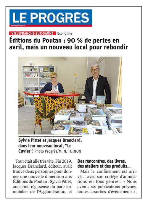 Éditions du Poutan, 90 % de pertes en avril mais un nouveau local pour rebondir – Le Progrès 10/05/2020