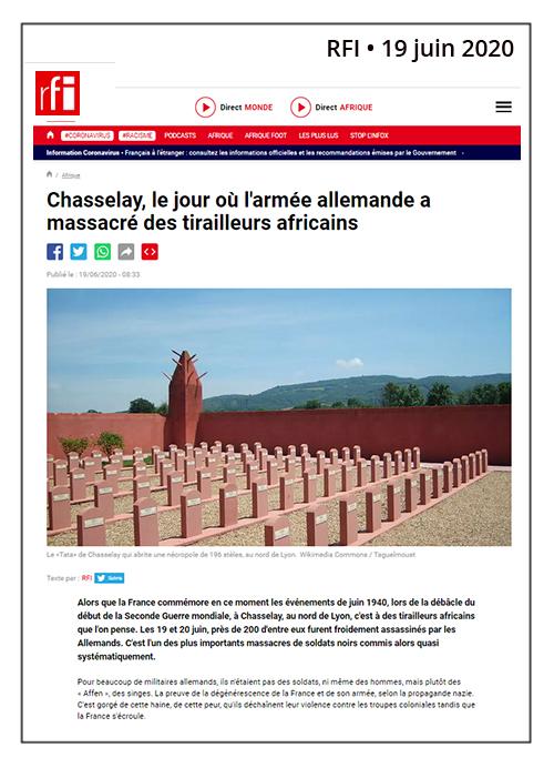 Chasselay, massacre des tirailleurs africains - RFI - 19/06/20