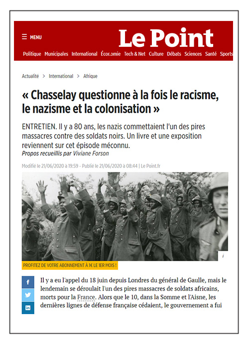 Chasselay questionne à la fois le racisme, le nazisme et la colonisation - le Point - 21/06/20