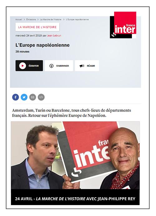 La marche de l'histoire avec Jean-Philippe Rey - France Inter 24/04/2019