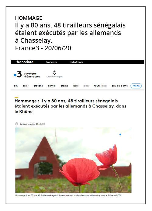 Il y a 80 ans, 48 tirailleurs sénégalais étaient exécutés par les allemands à Chasselay - France3 - 20/06/20