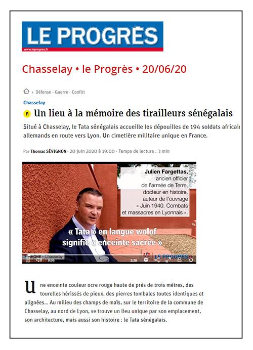 Un lieu à la mémoire des tirailleurs sénégalais - Le Progrès 20/06/2020