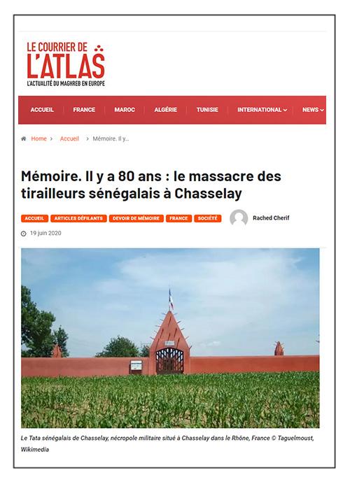 Mémoire. Le massacre des tirailleurs sénégalais à Chasselay - Courrier de l'Atlas - 19/06/20
